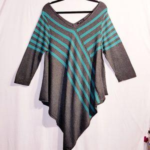 Relativity XL Striped Sweater Handkerchief Hem